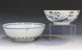 An English Delft circular bowl, London or Bristol, circa 1760, the exterior painted in manganese and