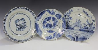 An English Delft plate, London, Brislington or Bristol, circa 1680-1700, painted in blue with a