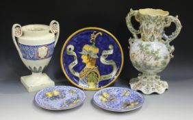 An Italian maiolica circular charger, late 19th century, painted with a titled half-length