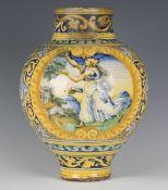 An Italian Sicilian maiolica oviform jar, probably Palermo, 17th century, polychrome painted with
