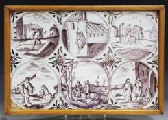 A group of six English Delft tiles, London, 1760-80, each painted in manganese with a biblical scene
