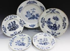 An English Delft charger, Bristol, circa 1755-60, painted in blue with pierced rockwork issuing
