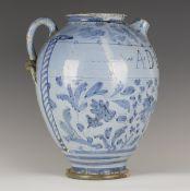 A berettino maiolica syrup or wet drug jar, Deruta or Marchigiana, mid-17th century, the ovoid