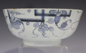 An English Delft circular bowl, Bristol or London, circa 1740, painted in blue with a version of the