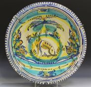 A large Spanish pottery lebrillo (basin) from Triana, 19th century, of gently flared circular