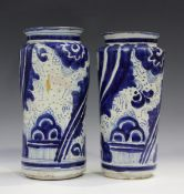 A tin-glazed earthenware albarello, Spanish, late 17th/early 18th century, of gentle baluster shape,