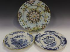 An English Delft charger of 'Ann Gomm' type, London, circa 1790-95, polychrome painted with a
