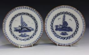 A small pair of English Delft plates, London, probably Lambeth, circa 1760, both painted in blue