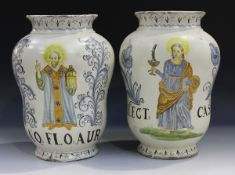 A large pair of Italian maiolica albarelli, of Castelli type, late 19th/early 20th century, the