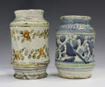 A small maiolica albarello, probably Sicilian, early 18th century, the gently waisted cylindrical