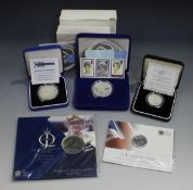A group of Royal Mint commemorative coinage, comprising a proof five pounds 1999 commemorating Diana
