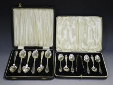 A set of six George VI silver grapefruit spoons, Birmingham 1939 by I.S. Greenberg & Co, cased,