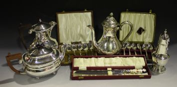 A collection of assorted plated items, including cutlery, a thistle condiment and teaware.Buyer's