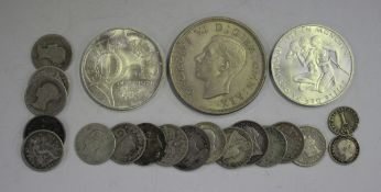A group of British coins, comprising a George VI crown 1937, a George II Maundy penny 1753, a George