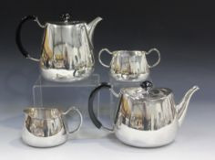 A mid-20th century Walker & Hall plated four-piece Pride pattern tea set, designed by David