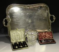 An Edwardian silver christening fork and spoon, each handle with floral and scroll decoration,