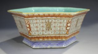 A Chinese porcelain hexagonal bowl, mark of Tongzhi but probably later 19th century, the slightly