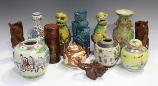 A collection of Chinese pottery and works of art, 19th century and later, including a turquoise