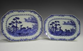 A graduated pair of Chinese blue and white export porcelain meat dishes, Qianlong period, each
