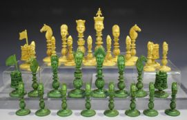 A Chinese Canton carved export ivory figural head 'King George' chess set, early 19th century, the