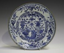 A Chinese blue and white export porcelain circular saucer dish, Qianlong period, the centre