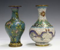 A Chinese cloisonné baluster vase, early 20th century, decorated with polychrome flowers and