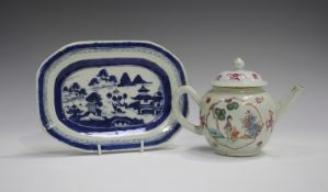 A Chinese famille rose export porcelain teapot and cover, Qianlong period, painted with figures