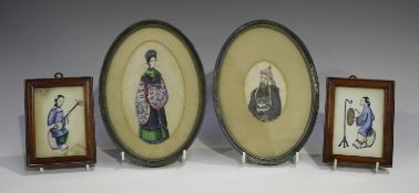 Two Chinese Canton export watercolours on rice paper, late 19th century, one painted with a half-