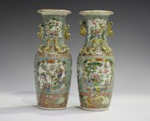 A pair of Chinese famille rose porcelain vases, late 19th century, each shouldered tapering body and