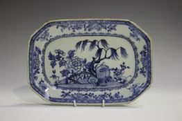 A Chinese blue and white export porcelain meat dish, Qianlong period, painted with a fenced garden