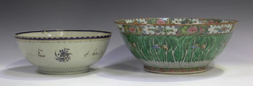 A Chinese Canton famille rose porcelain punch bowl, late 19th century, painted inside and out with