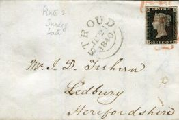 A collection of Great Britain 1840 1d black stamps various plates from 1A - plate 10 on 18 covers