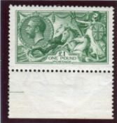 A Great Britain 1913 Seahorse £1 green stamp, fine mint well centred marginal (SG 403).Buyer's