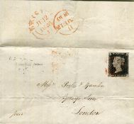 A June 1840 Entire from Brighton to London with fine 4 margins 1d black stamp, plate 2 (T.L. with