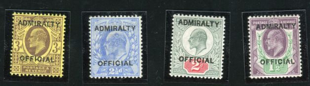 A Great Britain Admiralty official 1903 1½d, 2d, 2½d and 3d, mint, all with certificates (SG 0103-