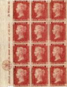 Great Britain 1d red plates mint blocks with plate 100, block of 6 and four others, plate 121
