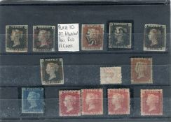 Five Great Britain 1840 1d black stamps on stock card, including plate 10 matched pair 1d red