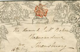 A group of Great Britain 1840 Mulready envelopes and letter sheets with two 1d mint, and two 2d