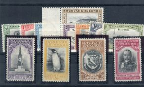 A Falkland Islands 1933 Centenary fine mint set of 12 stamps.Buyer's Premium 29.4% (including