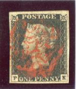 A Great Britain 1840 1d black stamp plate 4 (PK) fine 4 margins, red Maltese cross.Buyer's Premium