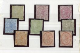 A stock card of nine Great Britain surface printed mint stamps with 1867 9d straw, 1876 2½d rosy