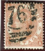 A Great Britain 1880 2 shillings brown stamp used, SG 121.Buyer's Premium 29.4% (including VAT @