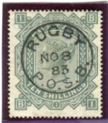 A Great Britain 1878 10 shillings greenish grey stamp, fine used Rugby P.O.S.B. circular datestamp.