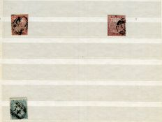 Australian states stock book, with New South Wales stamps from 1850 Sydney views 1d, 2d and 3d used,