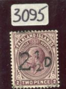 A Falkland Islands 1928 South Georgia Provisional 2½d on 2d mint stamp with certificate.Buyer's