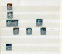 Eight Great Britain 1840 2d blue on page, plate 1 including a pair and a plate 2 single copy,