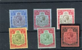 A set of six Bermuda 1918 -22 stamps, high values 2 shillings to £1 , fine mint (SG 51B - 55).