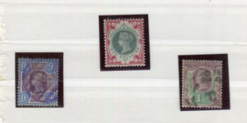 A Great Britain 1887 Jubilee 1 1/2d and 9d stamps used, with inverted watermarks and 1900 1sh