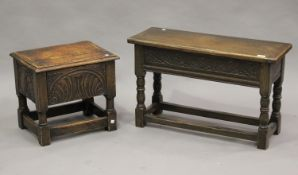 A 20th century Jacobean Revival oak box seat joint stool, height 48cm, width 77cm, together with