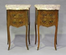 A pair of late 20th century French kingwood and floral inlaid bedside chests with shaped marble